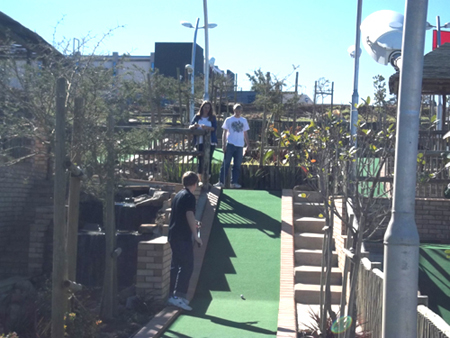 a hill in the Beacon Bay putt putt course
