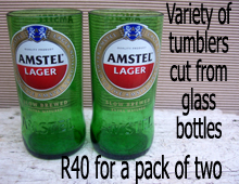 Amstel tumblers cut from glass bottles
