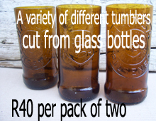 Hansa tumblers cut from glass bottles