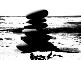 pebble tower on beach