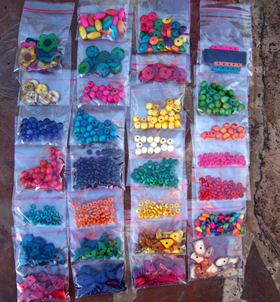 sorted loose beads