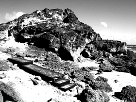 steps and walkway on rocky beach