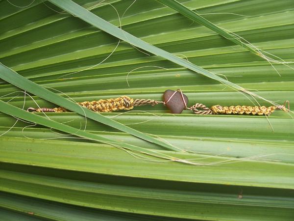 brown sea glass macrame bracelet