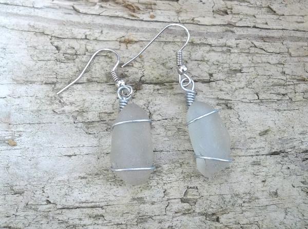 small white sea glass earrings
