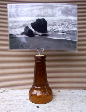 upcycled bottle with triangular wire photo holder