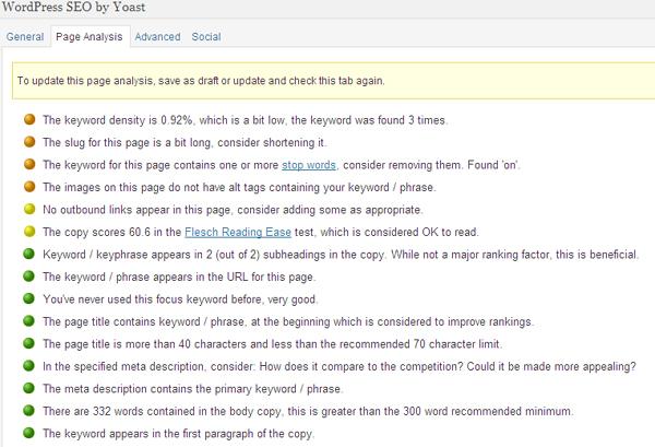 yoast wordpress on page seo checker