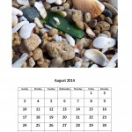 Free  2014 calendar sea glass theme - August