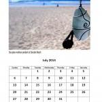 July 2014 calendar East London beach theme calendar
