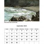 September 2014 calendar East London beach theme calendar