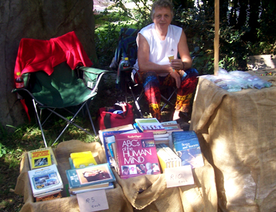 Selling second hand books at a market