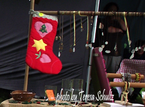 homemade Christmas stocking for sale at a craft market