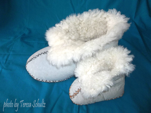 product photography for clients - large sheepskin slippers and small sheepskin slippers