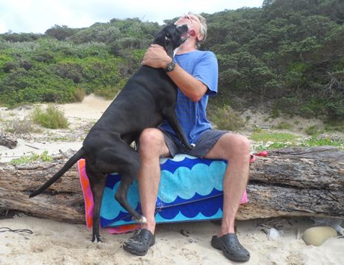 dog loving her human daddy