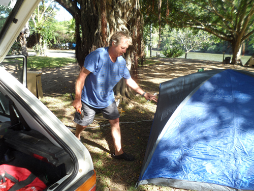 setting up a tent at Areena campsite