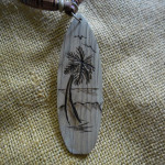 Wooden surfboard necklace