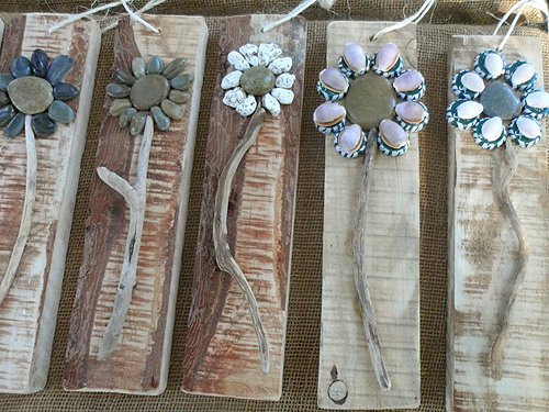 pebble shell driftwood flower wall hangings