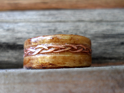 wooden ring with copper inlay