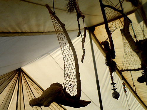 unusual dreamcatchers, driftwood boats etc made and sold by Terry and Tony