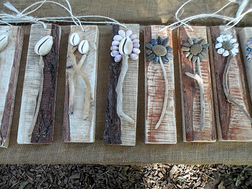 Wood driftwood pebbles wall hangings R40 each sold by Terry and Tony in East London mostly at craft markets in and around East London - this photo taken at Yellowwood Forest market in Morgan Bay on 16 December 2016