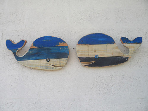 reclaimed wood whales wall hangings