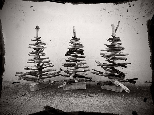 Three 85cm tall driftwood Christmas trees made by Terry and Tony in East London in South Africa